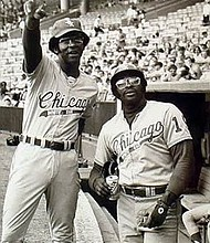 (Right) In a rare pose, Allen brothers, Hank (left) and Dick (right), finally joined forces with the Chicago White Sox in September 1972. It was their first time as teammates since leaving Wampum High School in Wampum, Pennsylvania.