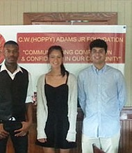 Hoppy Adams Foundation Scholarship announces their 2017 winners. They are 1st place; Mason Owens of Northeast High School, 2nd place, Dominic Rivera of North County High School and Brittany Stockett of South River High School.