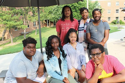 Baltimore County students completed a six-week college readiness program hosted by Upward Bound. Many of the students are the first generation to attend college. (Seated, left to right) Jamil Charles, Lucy Ekeh, Adia Mason and Milan Marseille. (Standing, left to right) Dana Thomas, Sherron Edwards, Director of CCBC Upward Bound; and Rico Dorsey, a summer bridge student.