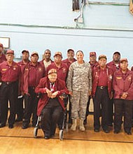 Several members of the Veterans of the 231st Transportation Truck Battalion with Major General Linda L Singh, The Adjutant General MD National Guard (center). Sitting beside her is Brigadier General Claude Patterson who served with the HQ of the 231st in Korea, who recently passed away. On the extreme right is the retired SFC Lloyd R. Scott, President of the veterans organization with former Delegate Clarence (Tiger ) Davis.