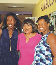 Kali Thorne Ladd (left) and Marsha Williams of KairosPDX join Multnomah County Commissioner Loretta Smith (center) to celebrate the five year anniversary of the school program serving underserved children in the former Humboldt School site at 4915 N. Gantenbein.