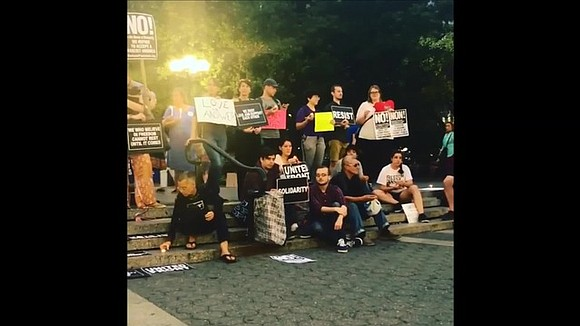 Protesters gathered in New York City's Union Square on Saturday, August 12 in solidarity with victims of the violent protests ...