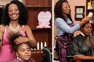 Vanessa Howard, founder of Giving Hands Hair Salon in Tampa, Florida, giving free makeovers