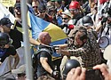 White supremacists demonstrators clash with counter demonstrators at the entrance to Lee Park in Charlottesville, Aug. 12, 2017. -Wikipedia Photo