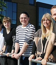 Portland Community College recently adopted a policy to divest from companies or funds that harm the planet or people thanks to PCC students who sought the ban. Pictured (from left) are some of the individuals who participated in the effort, including student Alex Bell-Johnson (from left), PCC Sustainability Manager Brian Schoon, and students Kien Truong, Molly Walker and Sebastian Scholene.