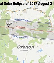 Path of the solar eclipse through Oregon.