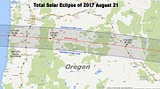 Path of the solar eclipse through Oregon.