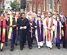 Rev. Carlton Smith (front row, third from left) joined Dr. Cornel West and a multiethnic group of clergy to protest the Unite the Right rally in Charlottesville, Va. on Aug. 12. (Courtesy photo)