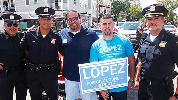 Officer Carlos Martinez, Detective Richard Medina, City Council candidate Jose Lopez, Nigel