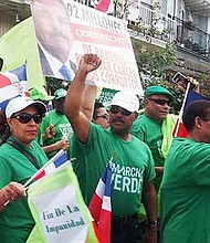 Activists with the Marcha Verde group demonstrate against corruption in the Dominican Republic's government.