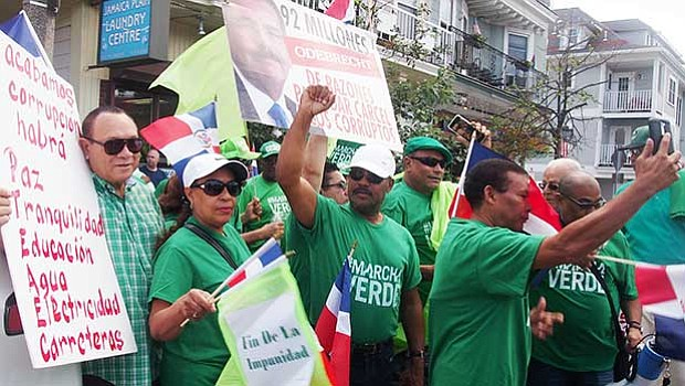 Activists with the Marcha Verde group demonstrate against corruption in the Dominican Republic's