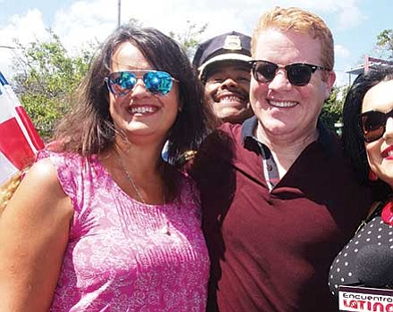 At-large City Councilor Anissa Essaibi-George, Police Chief William Gross (photobombing in rear),