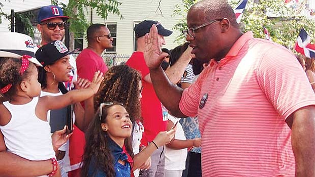 City Councilor Tito Jackson at the Dominican Festival parade.