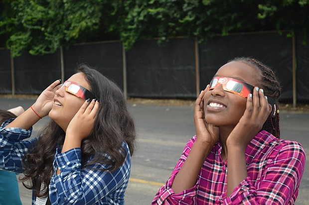 Indian Trails Middle School students in Plainfield got a glimpse of the solar eclipse this week.