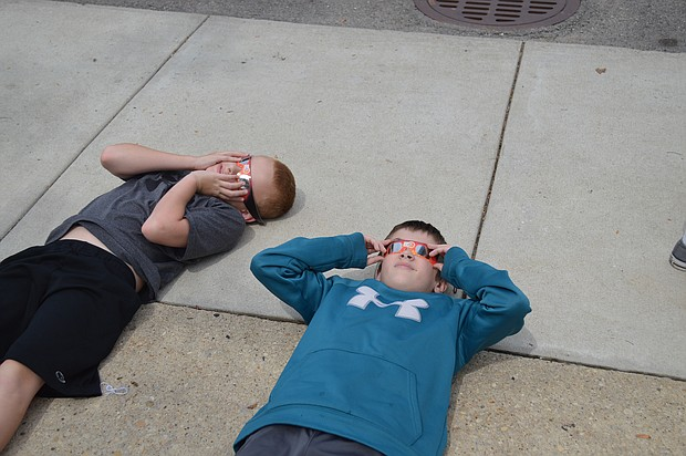 Some students made the most of their solar eclipse viewing opportunity.