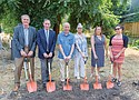 A groundbreaking ceremony ushers in  the future 'Charlotte Rutherford Place' at 6905 N. Interstate Ave., drawing dignataries from the city of Portland, Multnomah County, Central City Concern and other supporters of affordable, family housing. Pictured (from left) are Dave Underriner, City Commissioner Dan Saltzman, Ed Blackburn, Hon. Charlotte Rutherford, County Commissioner Loretta Smith, and Beth Palmer Wirtz.