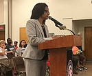 Daphnè Robinson, director of charter schools for Shelby County Schools, offers recommendations to the school board.