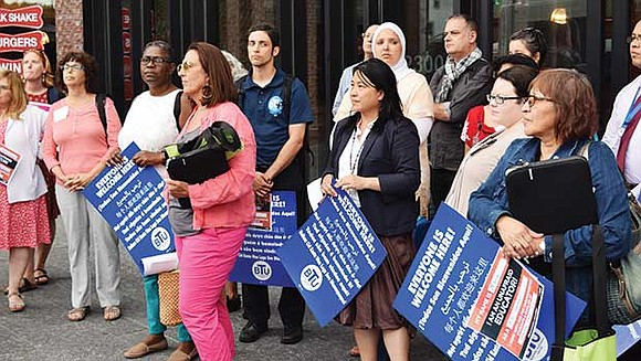 This week, educators from the Boston Teachers Union gathered outside Roxbury's Bruce C. Bolling Municipal Building to demonstrate their support ...