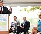 Mayor Martin Walsh offers remarks during the ground breaking for Olmsted Green on the site of the former Boston State Hospital.