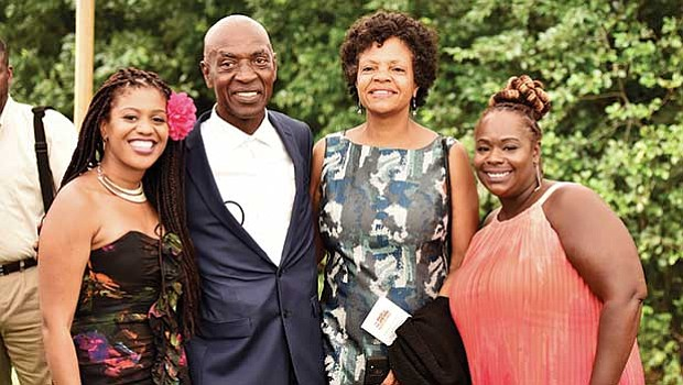 Professor Charles J. Ogletree and his wife, Pam Ogletree, with event planners Sheena Collier & Shana Bryant
