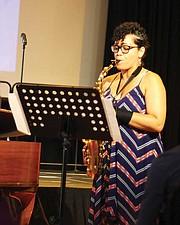Alto saxophonist Seychelle Dunn-Corbin.