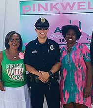 Beach Party Committee members Alisa Drayton, Elizabeth Donald, Town of Oak Bluffs Officer Noah, Psi Omega Chapter President Chenita Daughtry and pINKWELL Party Chairman Kathy Lucas