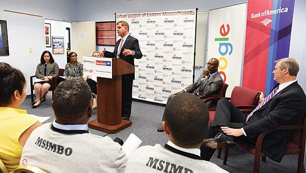 Mayor Martin Walsh and representatives from Google, BNY Mellon and Bank of America announced a major technological investment in the Urban League of Eastern Massachusetts' MSIMBO programming class for Boston-area adults.