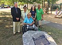 A memorial plaque telling the story of the late Dr. DeNorval Unthank, the first black doctor in Portland and a dedicated humanitarian who tirelessly advocated for civil rights while building his medical practice, is dedicated at Unthank Park in north Portland during an Aug. 19 community celebration sponsored by Self Enhancement, Inc. Pictured (from left) are Bill Failing, president of the Lang Syne Society of Portland which made the plaque possible, Lesley and Jim Unthank, daughter and son of Dr. Unthank; Portland City Commissioner Amanda Fritz and Tony Hopson, president and co-founder of SEI.