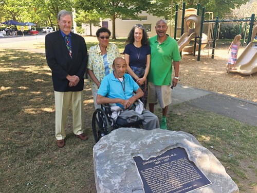 A memorial plaque telling the story of the late Dr. DeNorval Unthank, the first black doctor in Portland and a ...
