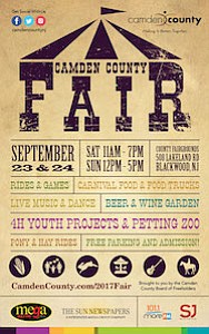 Camden County Fair will be held September 23-24 at the County Fairgrounds at 508 Lakeland Road in Gloucester Township.