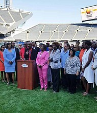Illinois Cook County Board President Toni Preckwinkle and local community leaders announced the 20th annual Chicago Football Classic, which will take place on Sept. 30 at Soldier Field. Photo Credit: Christopher Shuttlesworth