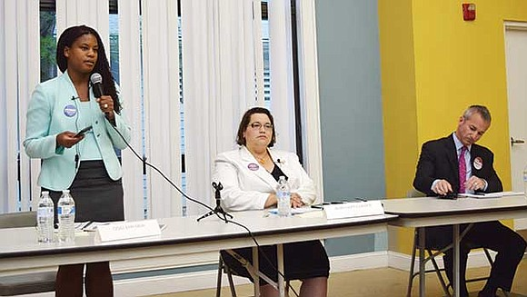 Candidates for the District 1 Boston City Council seat participated in a public forum in East Boston last week to ...