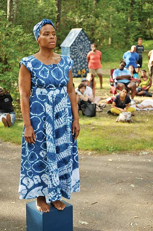 """Ife Franklin's Indigo Project #4: Slave Cabin, Praise House and Ring Shout"" is open on Franklin Park, 1 Circuit Drive ..."