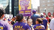 SEIU 32BJ members and their families gathered for the Labor Day rally.