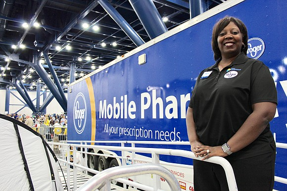 Kroger's Mobile Pharmacy Trailer is on-site at the George R. Brown Convention Center to serve displaced Houston families affected by ...