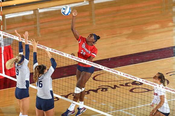 Goals are always set high for St. John's University's volleyball. Currently 5-2 after last weekend's Albany Invitational, middle blocker Danisha ...