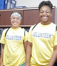 Lawnside School District Board Member, India Criss with former Lawnside student and current Haddon High School student volunteers Shapria Kelly and Cydney Thomas and Lawnside School District Boad President, Sabrina Forrest.