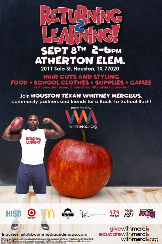 Houston Texans Whitney Mercilus is known for showing NO MERCI on the field, but off the field, he is known ...