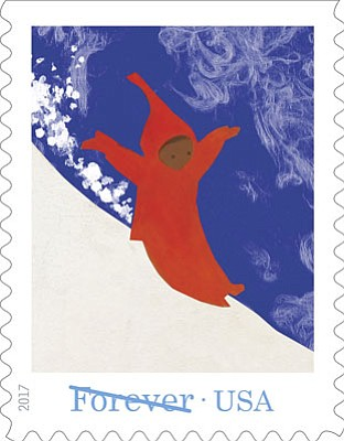 The Snowy Day – Peter sliding down a mountain The Snowy Day Forever Stamps are based on a children's book by Ezra Jack Keats