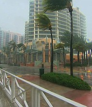 Hurricane Irma batters Miami, Florida with heavy winds on September 10, 2017.