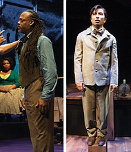 "Kevin Kenerly (left) and Steven Sapp are a boxer and poet with a shared past in ""UniSon,"" derived from the great African American Playwright August Wilson; And placed in an Indian school (right photo) where his culture is erased, a 19th Century Native American (Shaun Taylor-Corbett) is visited by the spirit of his Native American grandfather (Brent Florendo) in 'Off the Rails.' Both shows are now playing at the Oregon Shakespeare Festival in Ashland."