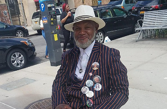 "A former Vietnam veteran who goes by Sarge, aka ""Joe Driver"" can be seen on Fulton Street (Harriet Ross Tubman ..."
