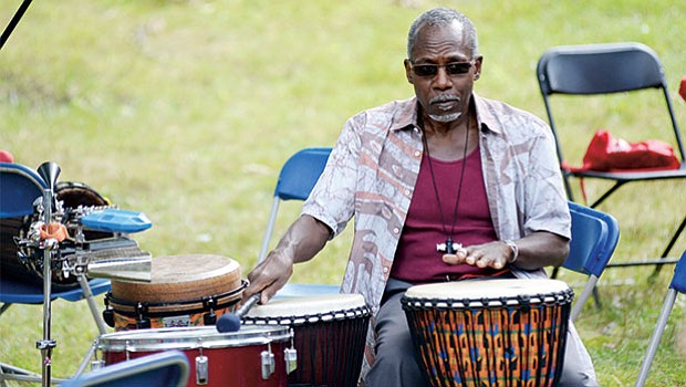Percussionist Cornell Coley performs during the annual Big Head Festival at the Museum of the Center for Afro-American Artists in Roxbury.