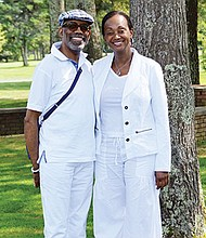 Robert Hatchett and Alva Adams-Mason at the 17th Annual Morrison Golf Classic Sponsored by Toyota