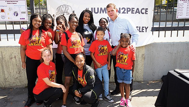 "Mayor Walsh joins youth at the annual ""Jump In 2 Peace"" event with City Councilor Ayanna Pressley."