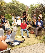Boston Ujima Project founding members gather for an outdoor session at the inaugural general assembly held at First Church of Roxbury on Saturday, Sept. 9.