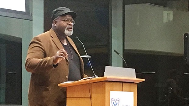 "Ed Whitfield, co-managing director of the Fund for Democratic Communities, delivers a keynote speech at the Boston Ujima Project's ""Dreaming Wild"" launch event."