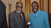 "Rev. Dr. LaSimba L. Gray (left), lauded the late Dr. Dwight R. Montgomery's tireless work in making sure African Americans were represented in City Hall and on the police force. ""He led that movement in the late '60s and early '70s"" Gray said. ""I knew then that he was a natural leader to do what he has been doing in Memphis for the last 40 years."" Here the two greeted each other at the SCLC National Convention in Memphis in July."