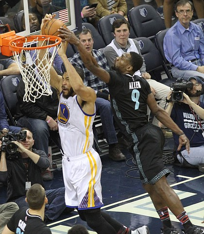 """Let's see: A 7-footer going up for a dunk at the rim? An ordinary player might give up on that play. But Tony Allen doesn't give up on plays. That's how he became the Grindfather, it's why he screams """"First Team All Defense."""" It's also how he got this block on Golden State's JaVale McGee at FedExForum in February."""