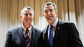 Gubernatorial candidates Ed Gillespie, left, a Republican, and Lt. Gov. Ralph S. Northam, a Democrat, in a photo opportunity between their separate appearances at the NAACP candidates' forum Sept. 7 at Virginia Union University.